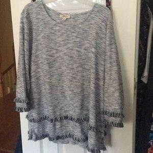 Boho Textured & Fringe Accented Sweater